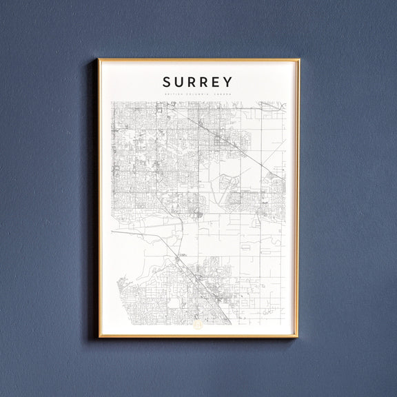 Surrey, British Columbia map poster