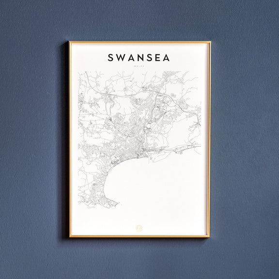 Swansea, Wales map poster