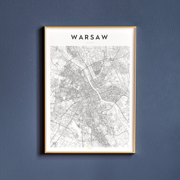 Warsaw, Poland map poster
