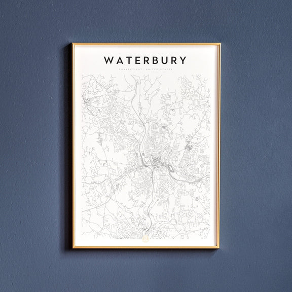 Waterbury, Connecticut map poster