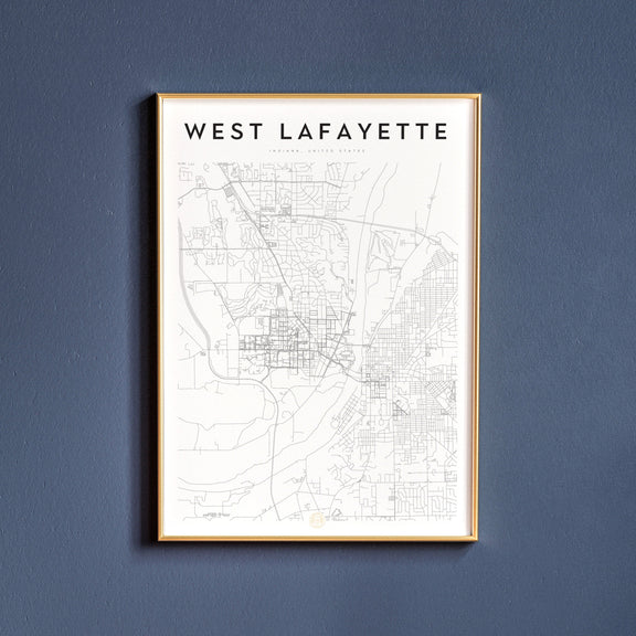West Lafayette, Indiana map poster