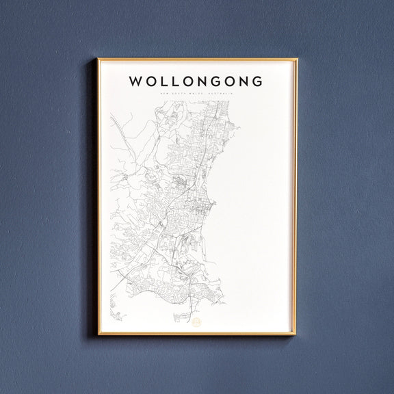 Wollongong, New South Wales map poster
