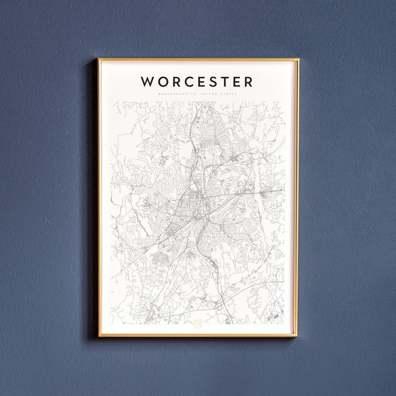 Worcester, Massachusetts map poster