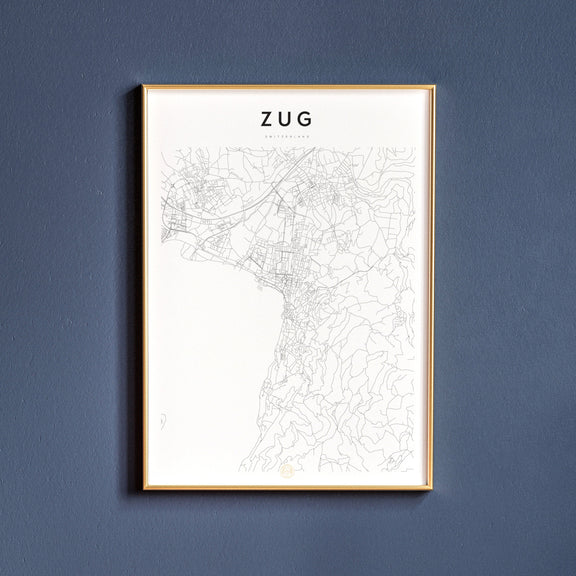 Zug, Switzerland map poster