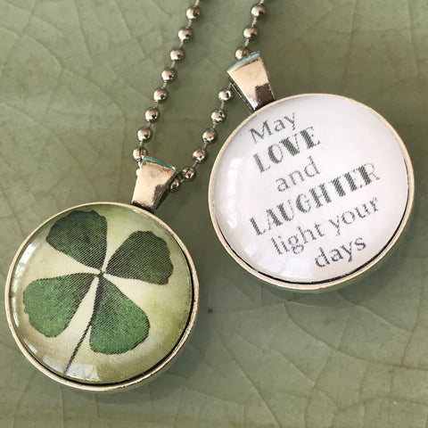 reversible irish blessing necklace