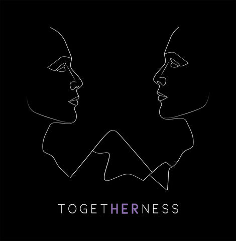 Togetherness faces over mountains design