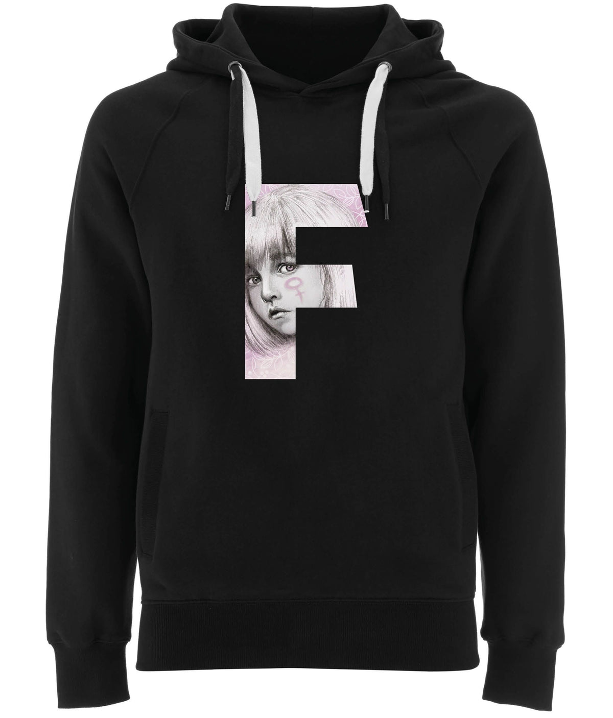 F For Her Organic Combed Cotton Hoodie Black