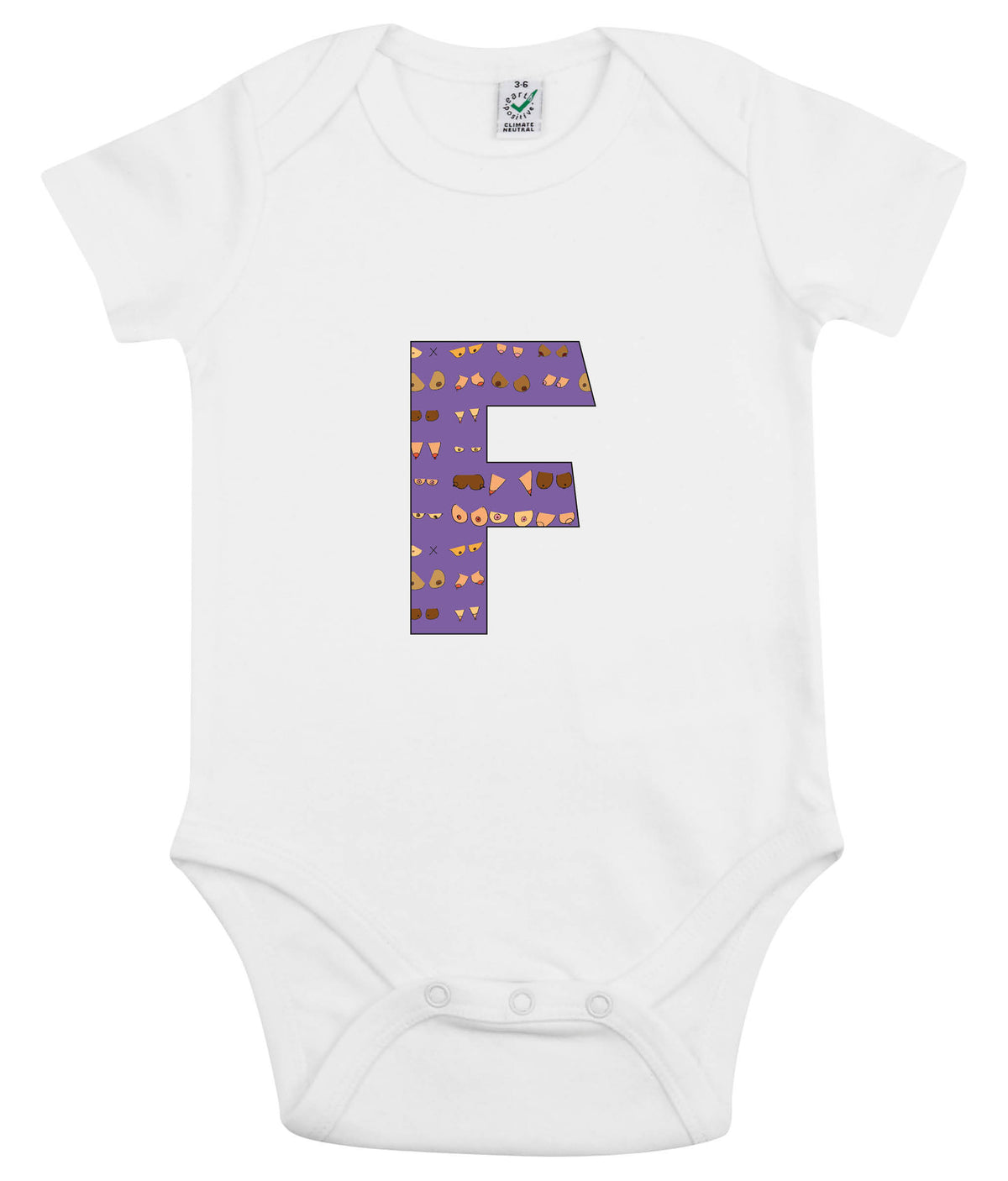F Niamh Organic Combed Cotton Babygrow White