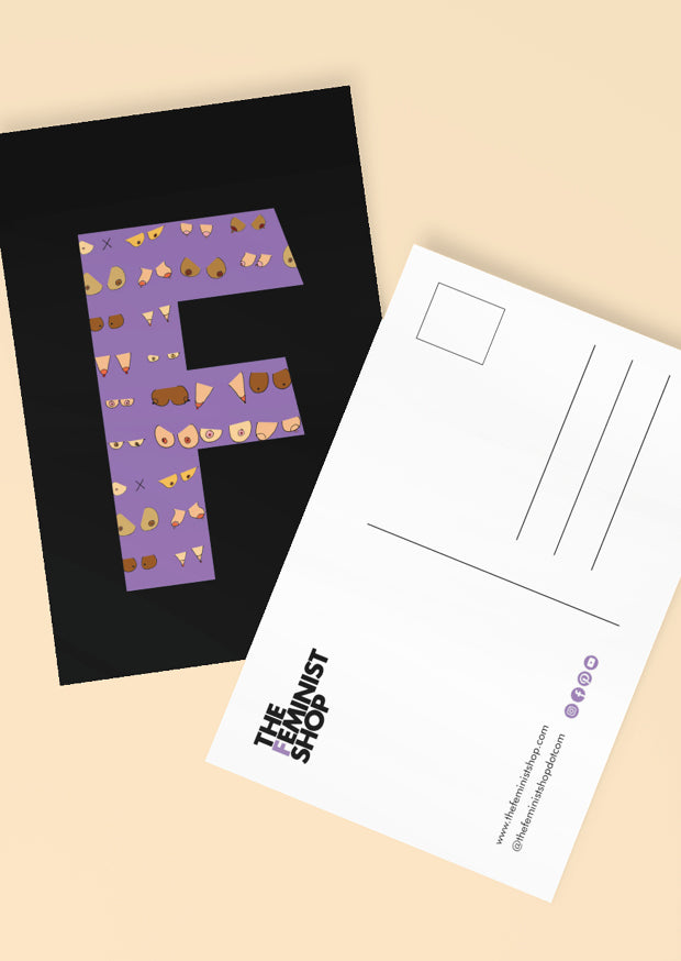 Feminist Postcard - F by Niamh Maguire - Black