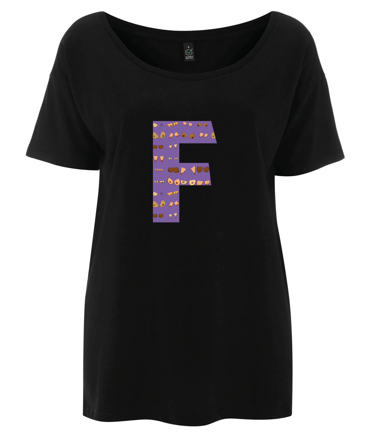 F Niamh Tencel Blend Oversized Feminist T Shirt Black