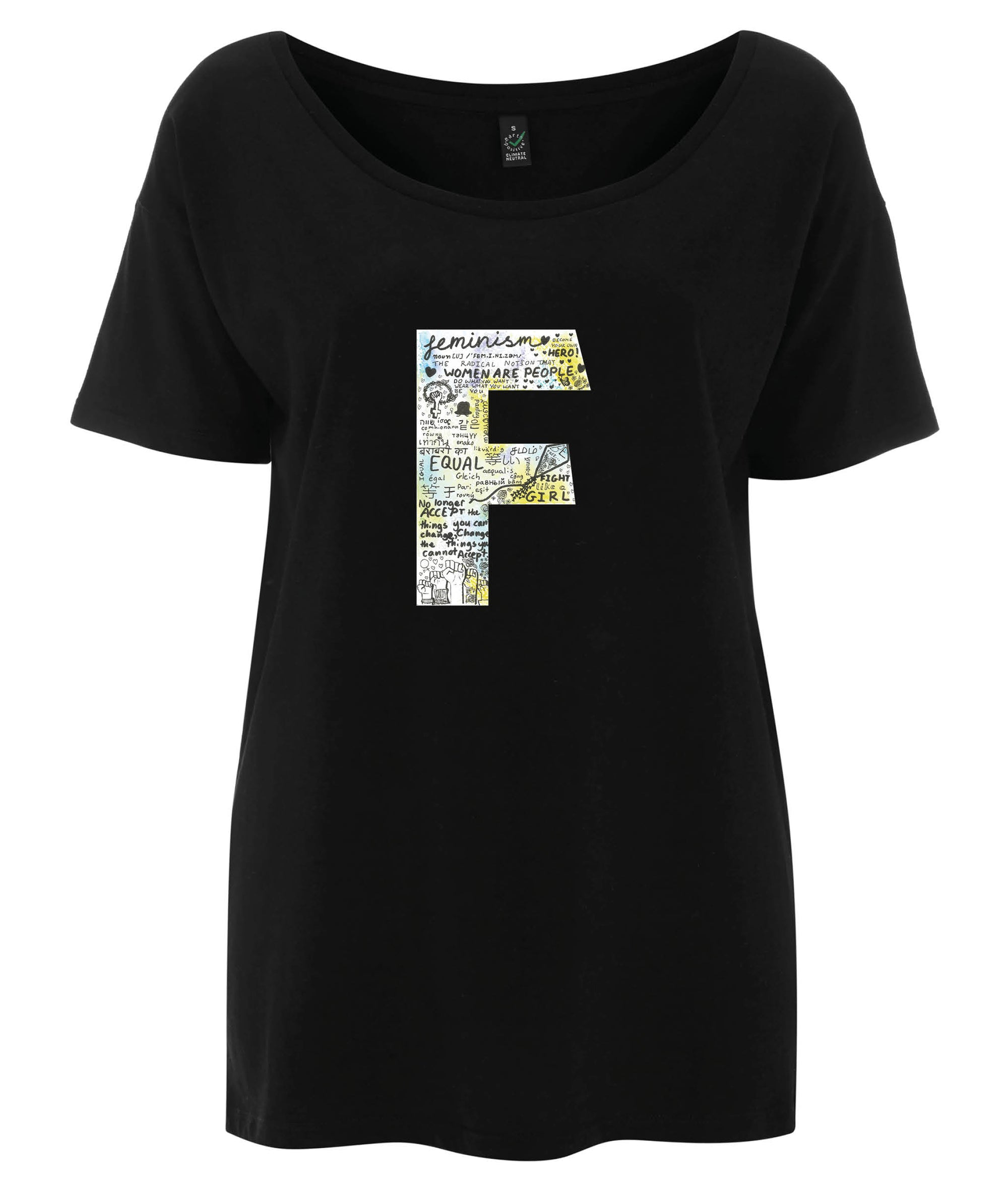 F Olivia  Tencel Blend Oversized Feminist T Shirt Black