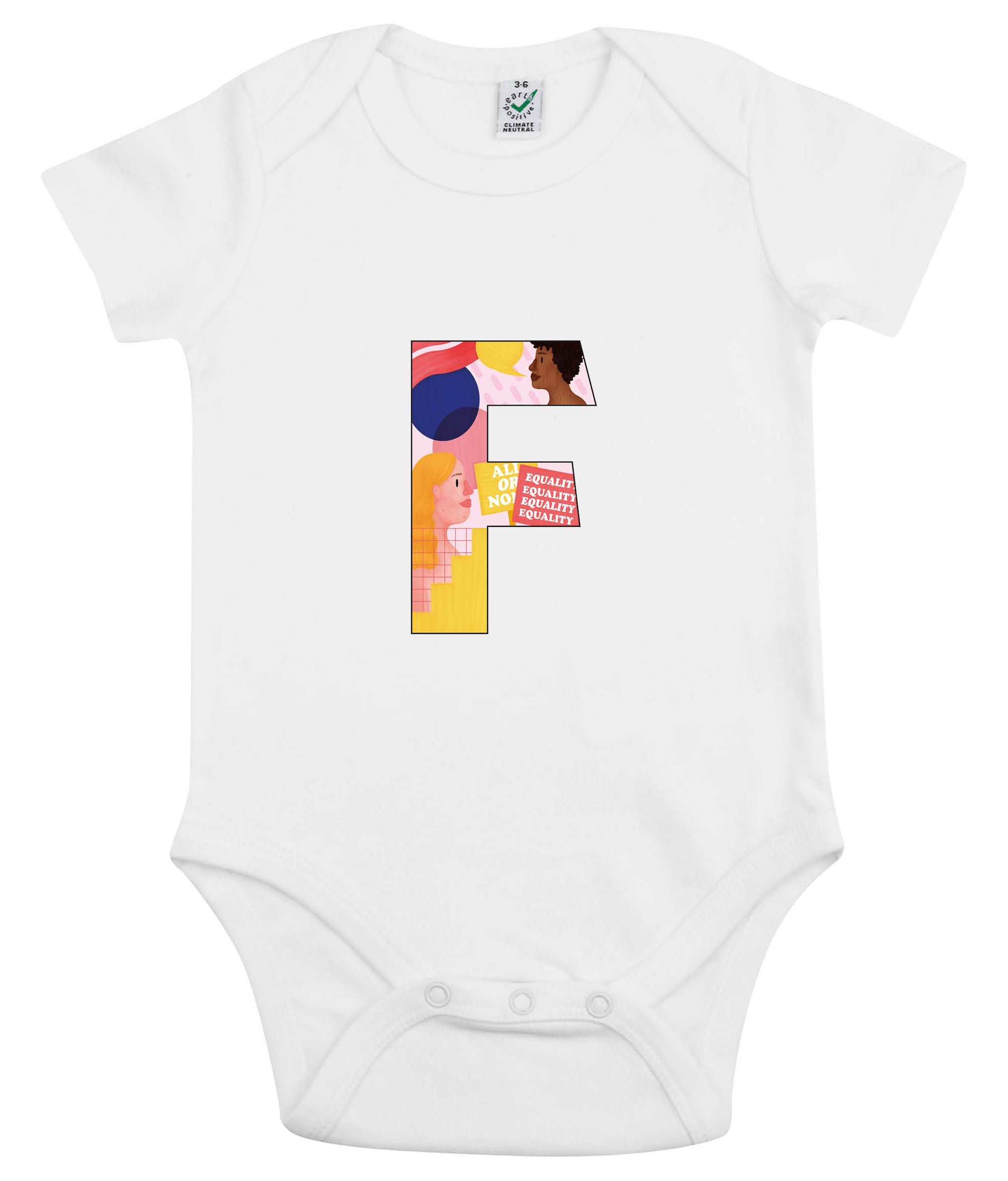F Pink Bits Organic Combed Cotton Babygrow White