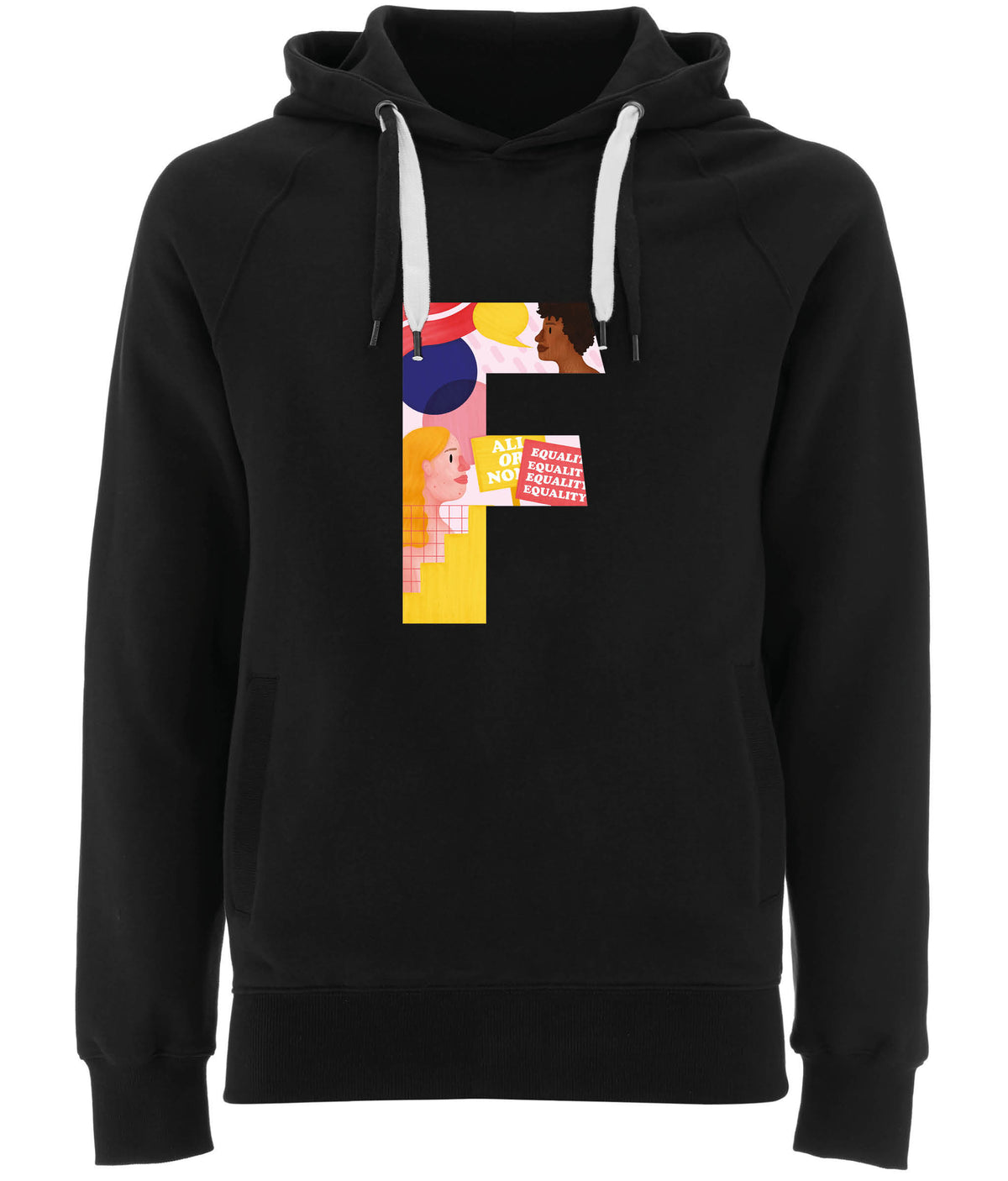 F Pink Bits Organic Combed Cotton Hoodie Black