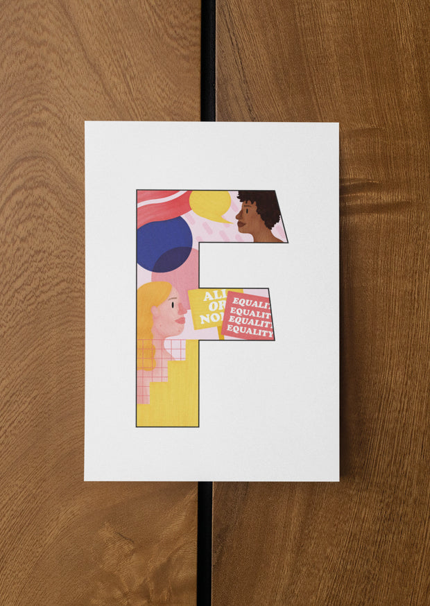 Feminist Postcard - F by Pink Bits