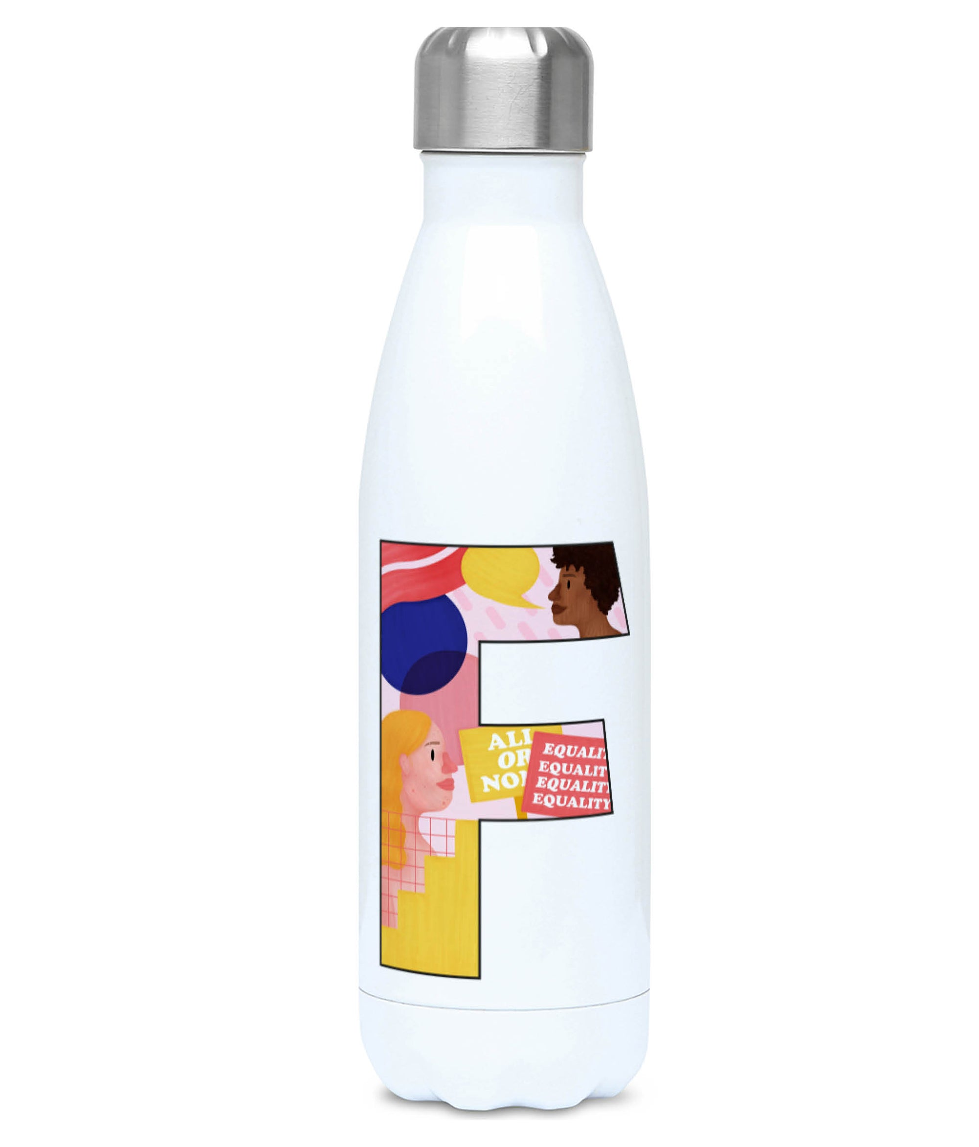 Feminist Water Bottle - F Pink Bits - Front