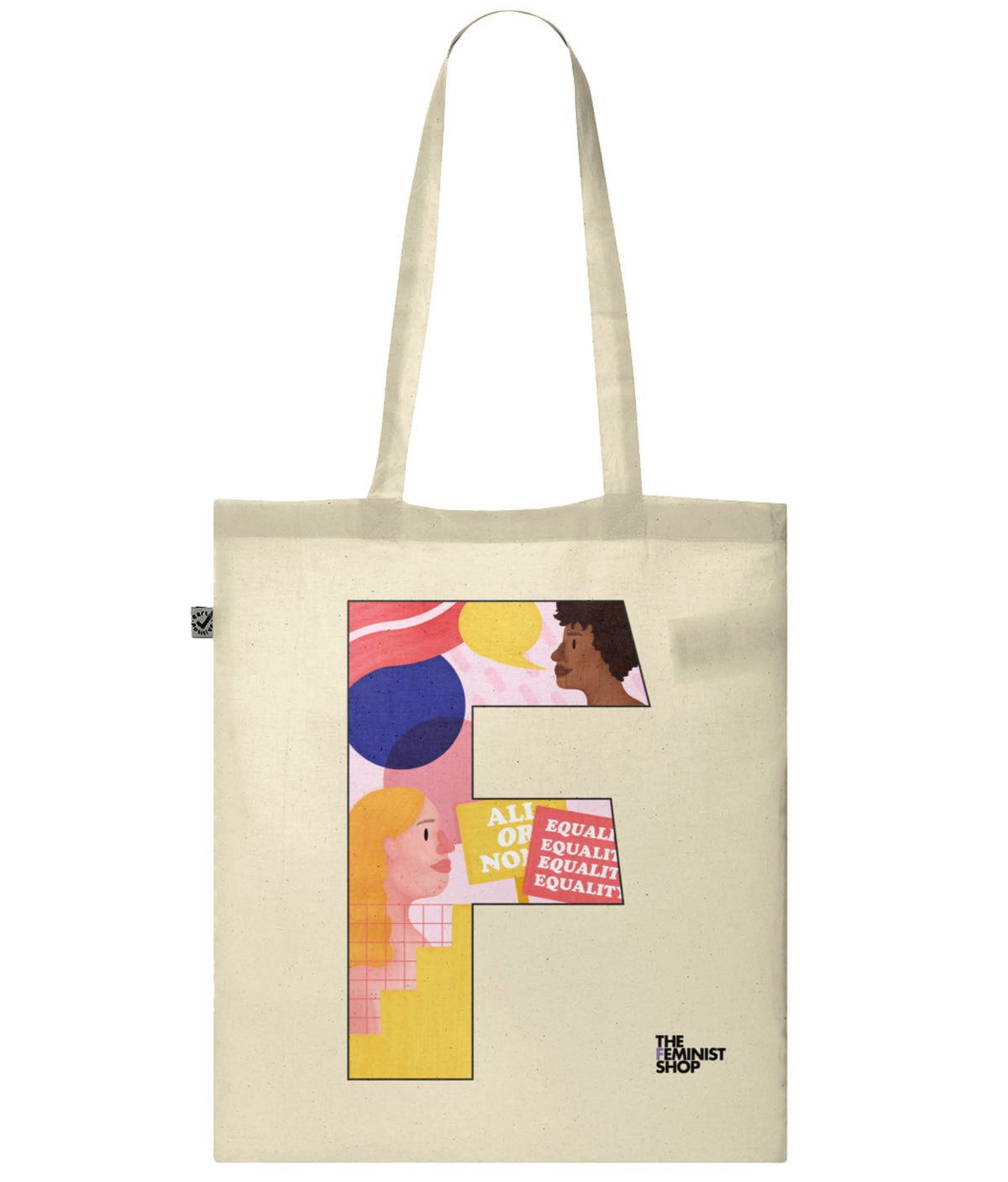 Organic Cotton Feminist Tote Bag - F by Pink Bits
