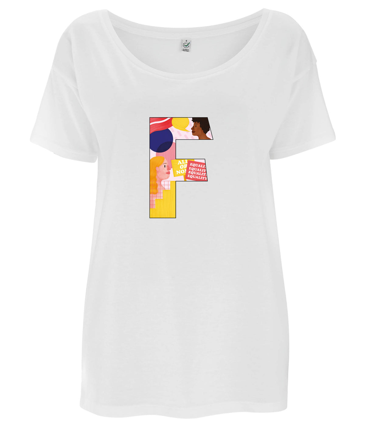F Pink Bits Tencel Blend Oversized Feminist T Shirt White