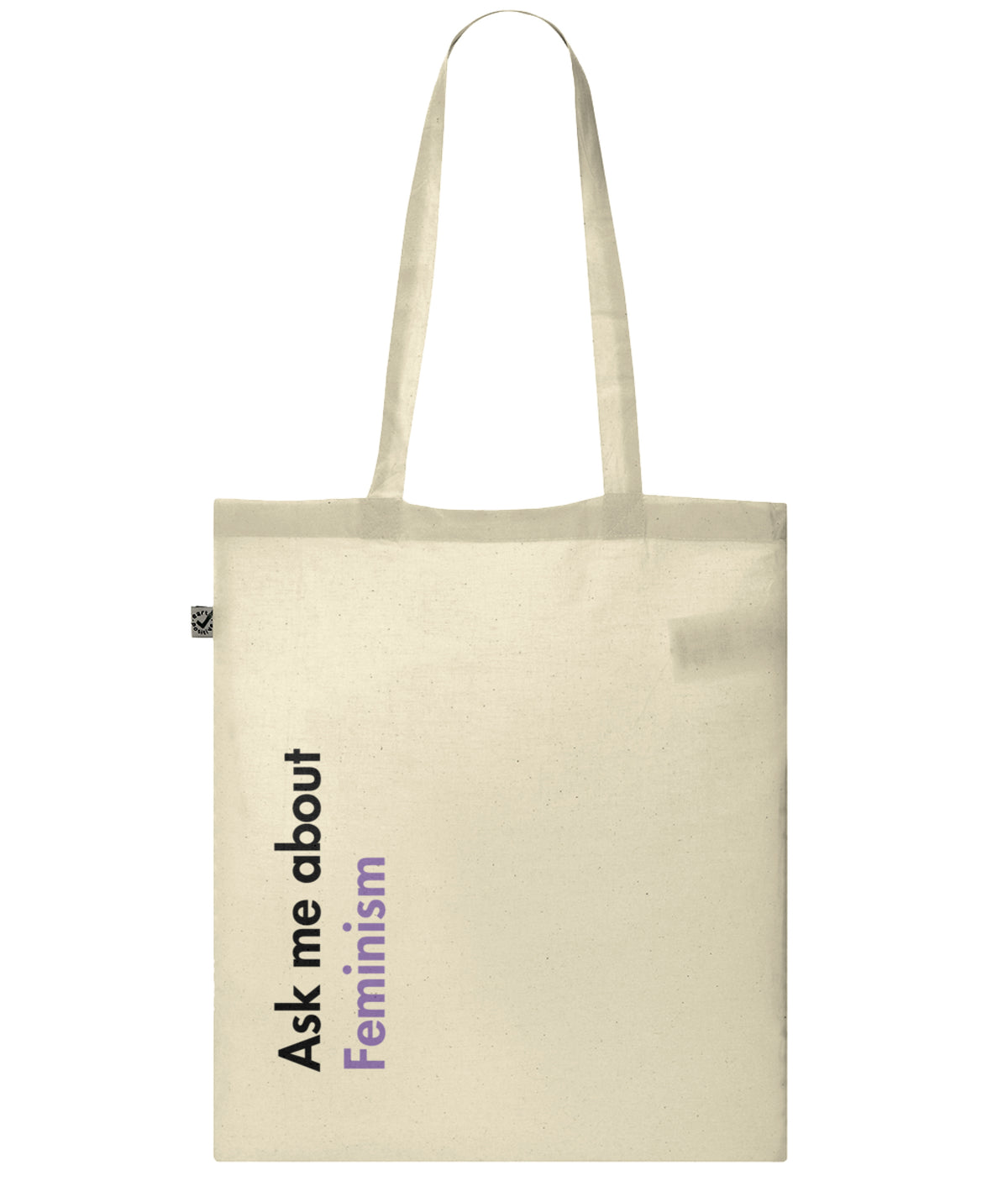 Ask Me About Feminism Organic Combed Cotton Tote Bag Natural