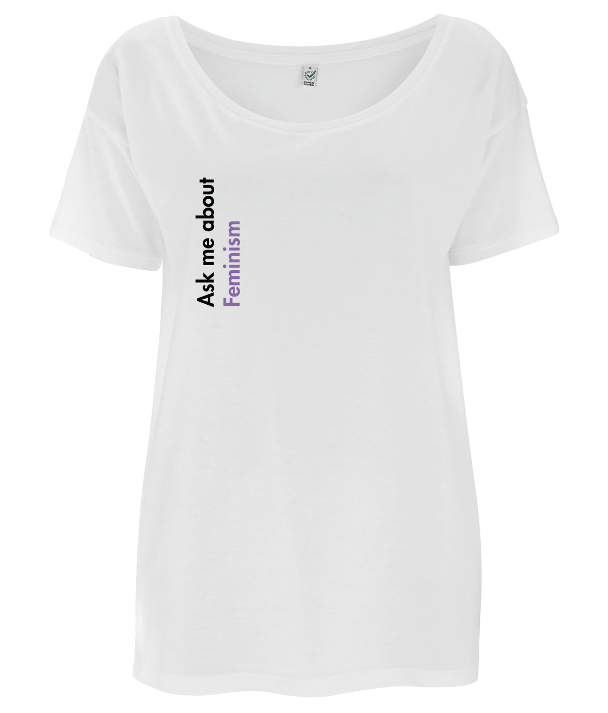 Ask Me About Feminism Tencel Blend Oversized Feminist T Shirt White