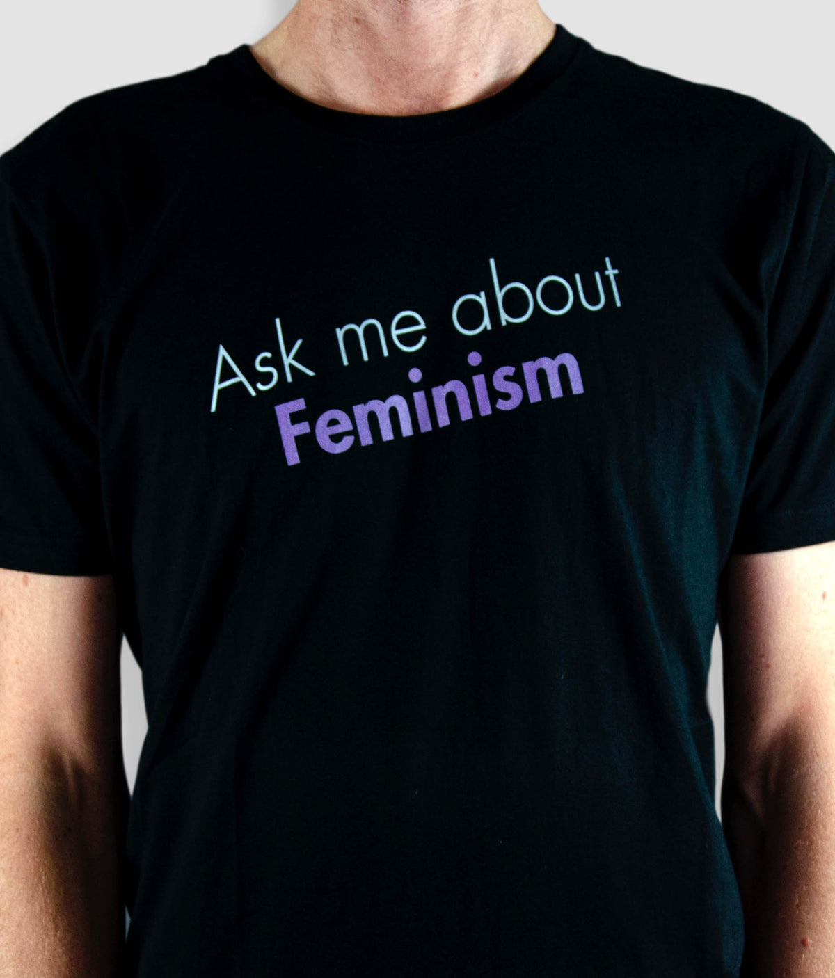 Slim Fit Organic Feminist T Shirt - Ask Me About Feminism, Bold