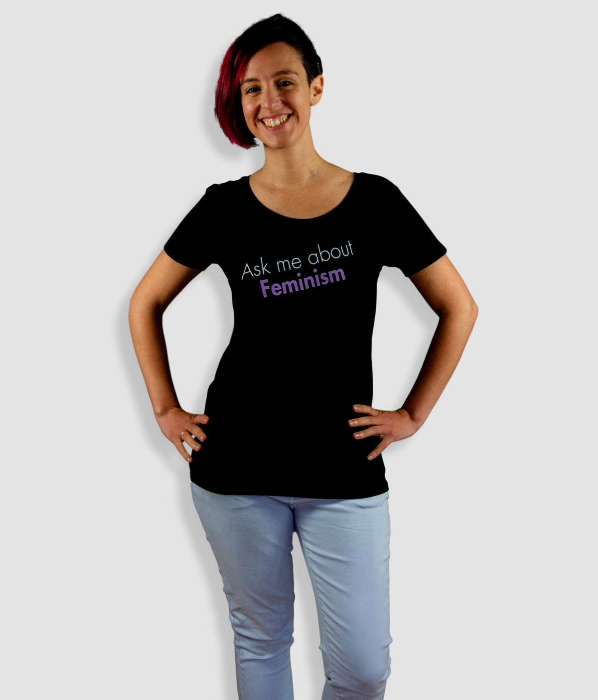 Open Neck Organic Feminist T Shirt - Ask Me About Feminism, Bold