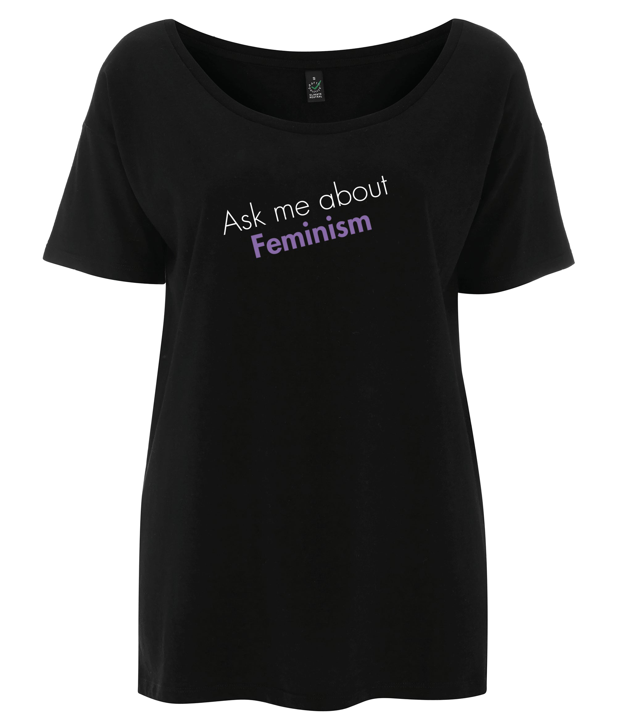 Ask Me About Feminism Tencel Blend Oversized Feminist T Shirt Black