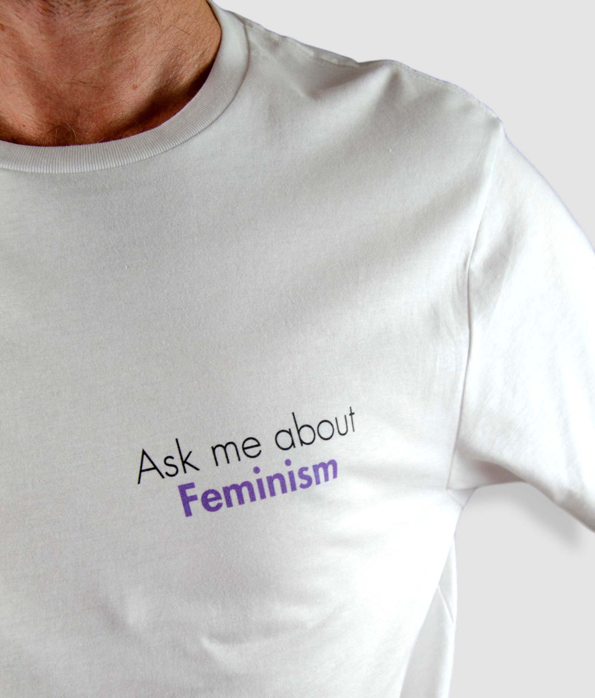 Unisex Organic Feminist T Shirt - Ask Me About Feminism, Tilted