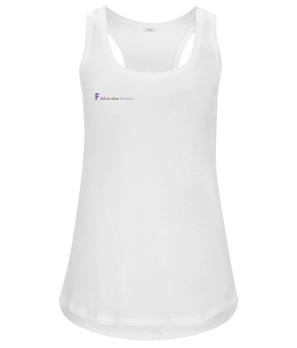 Ask Me About Feminism Organic Feminist Racerback Vest White