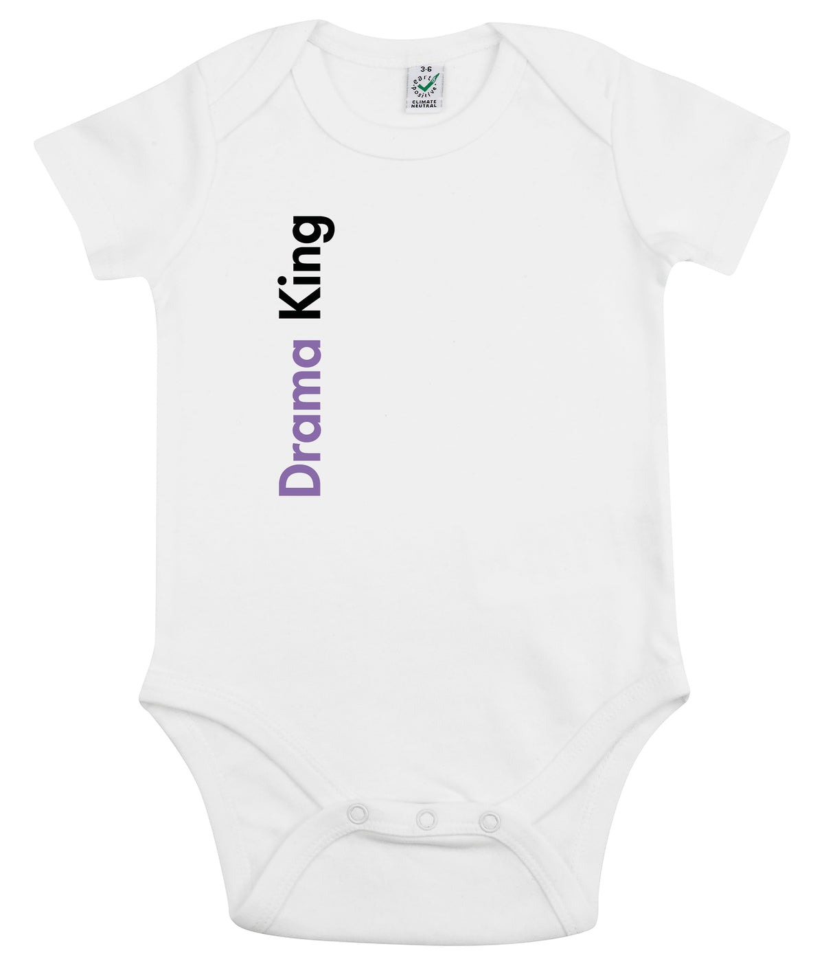 Drama King Organic Combed Cotton Babygrow White