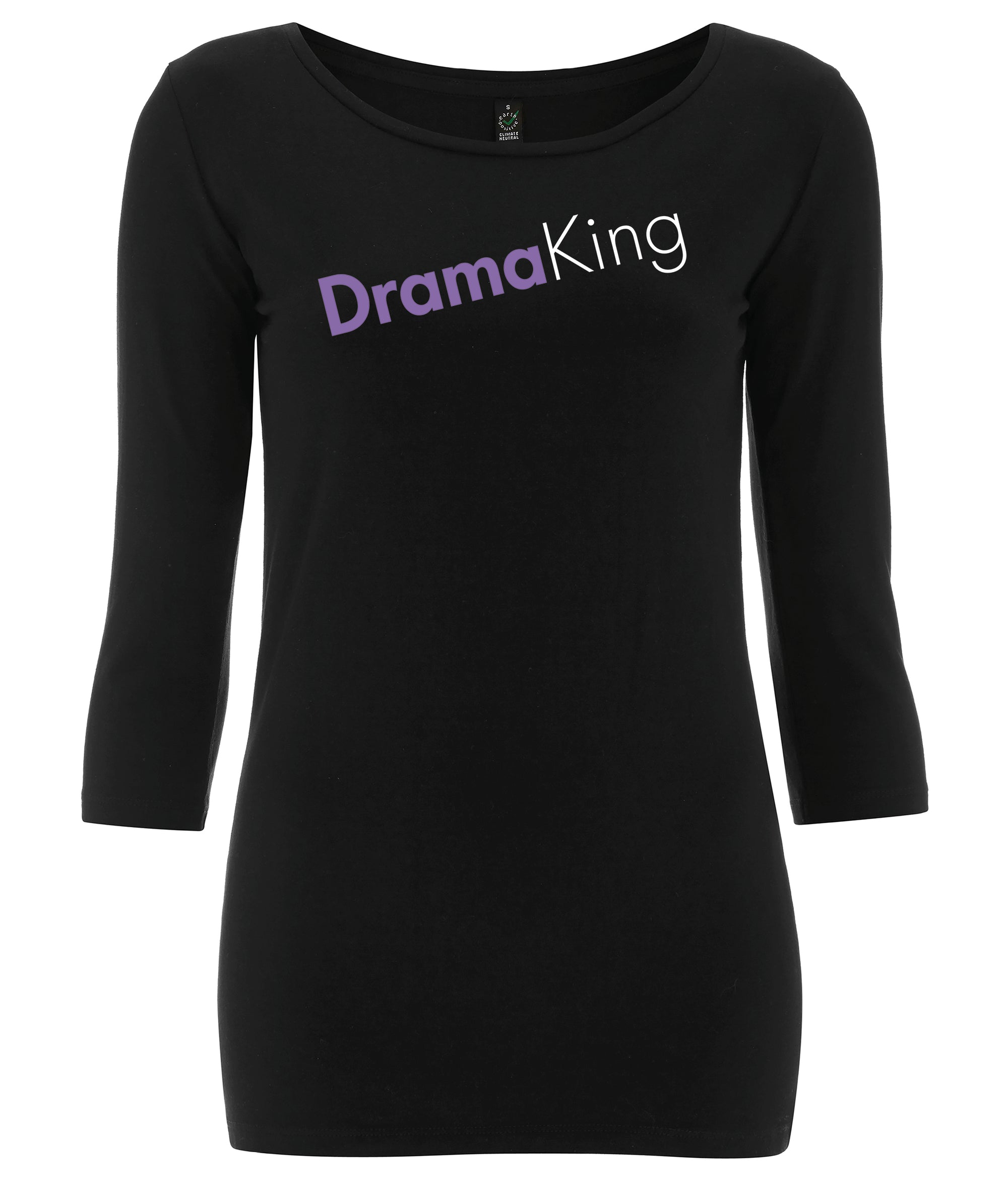 Drama King 3/4 Sleeve Organic Feminist T Shirt Black