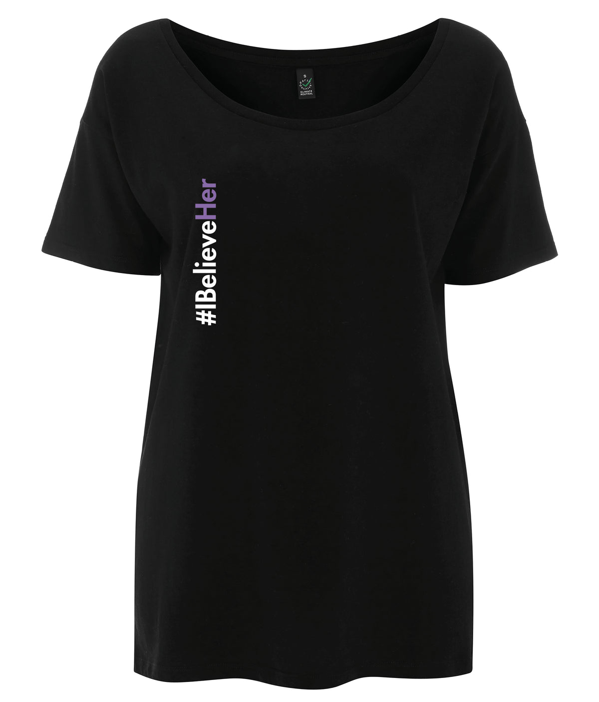 #IBelieveHer Tencel Blend Oversized Feminist T Shirt Black