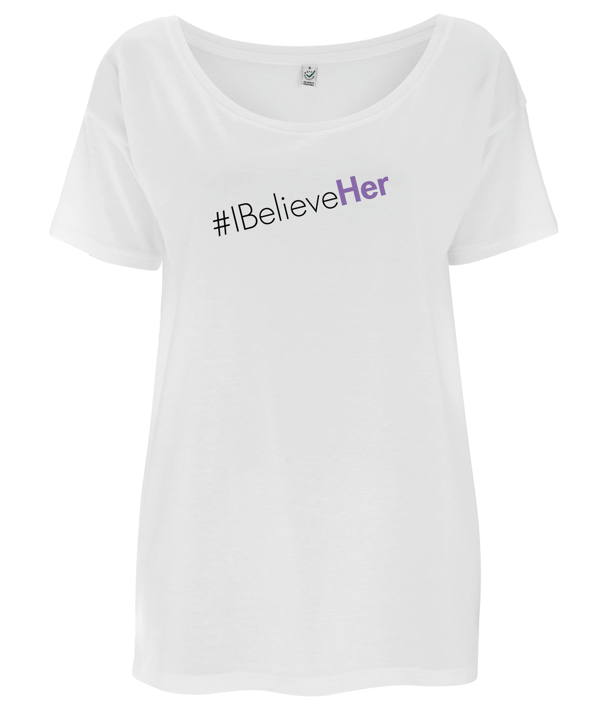 #IBelieveHer Tencel Blend Oversized Feminist T Shirt White