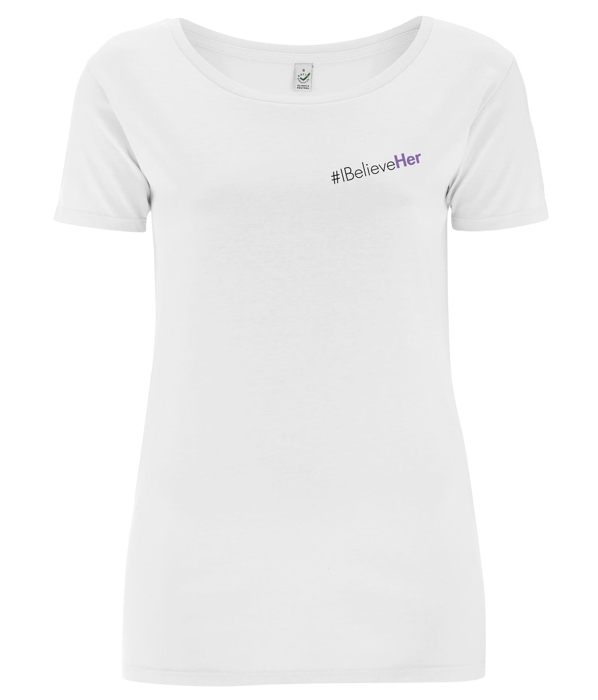#IBelieveHer Open Neck Organic Feminist T Shirt White