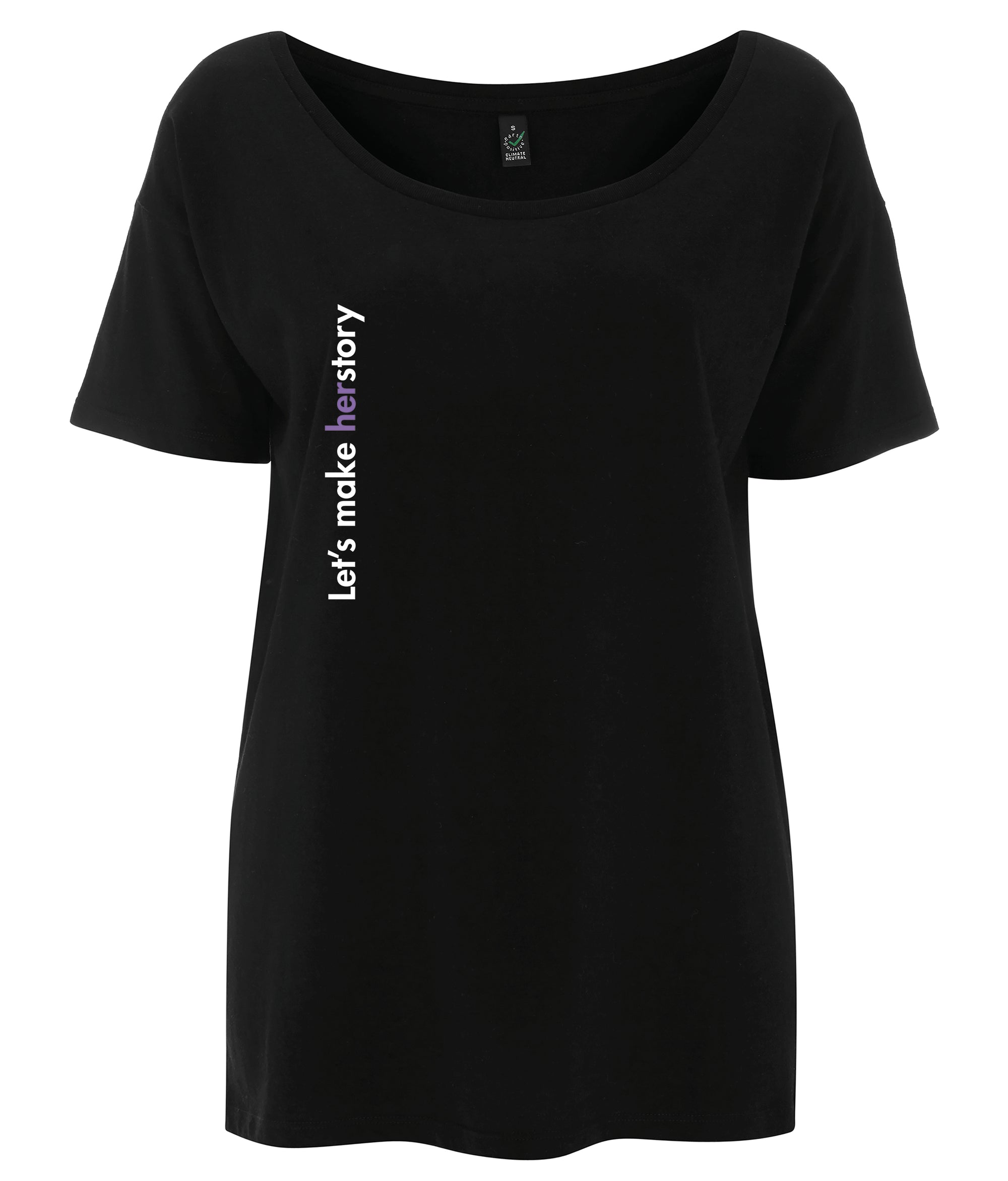 Let's Make Herstory Tencel Blend Oversized Feminist T Shirt Black