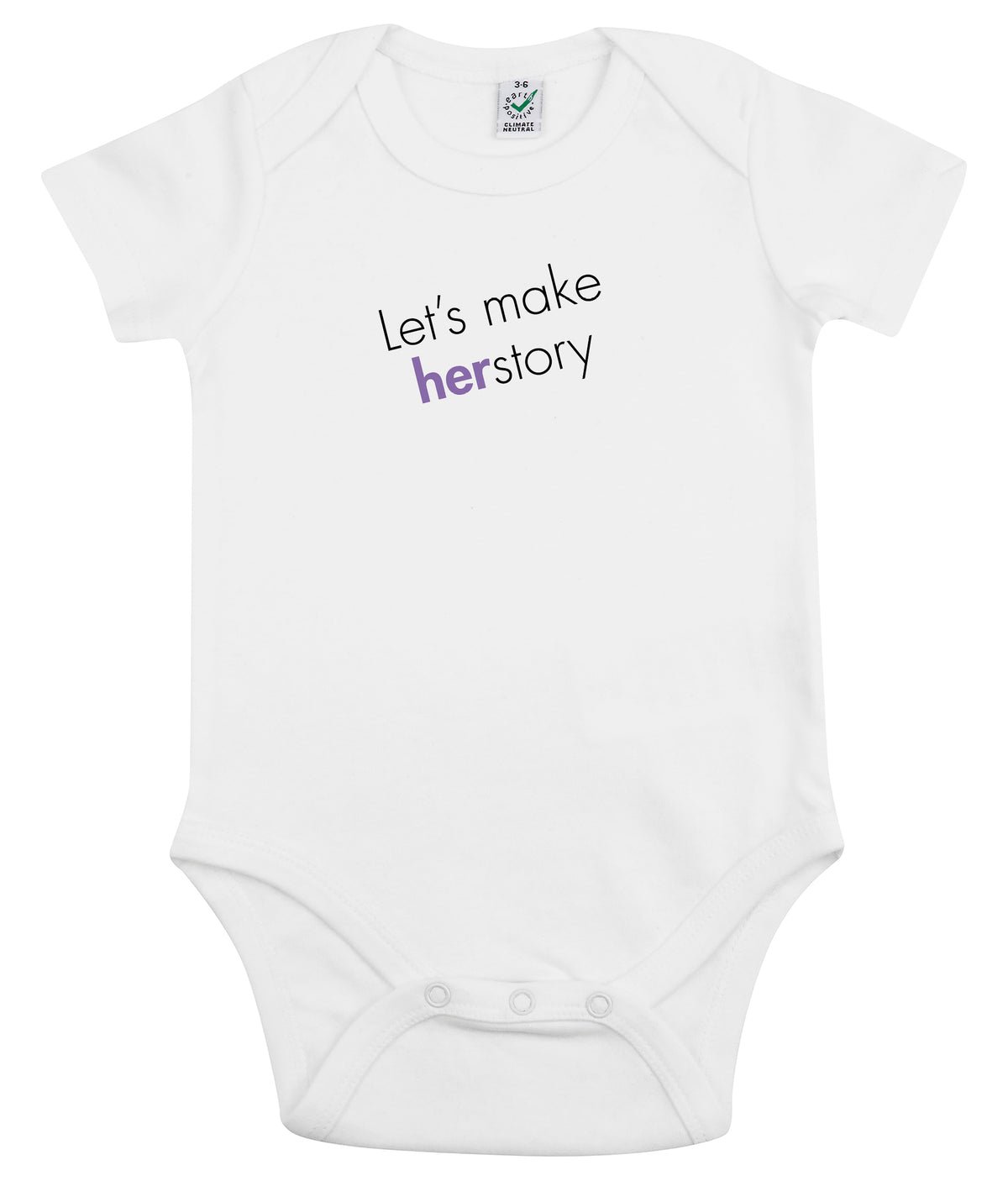 Let's Make Herstory Organic Combed Cotton Babygrow White