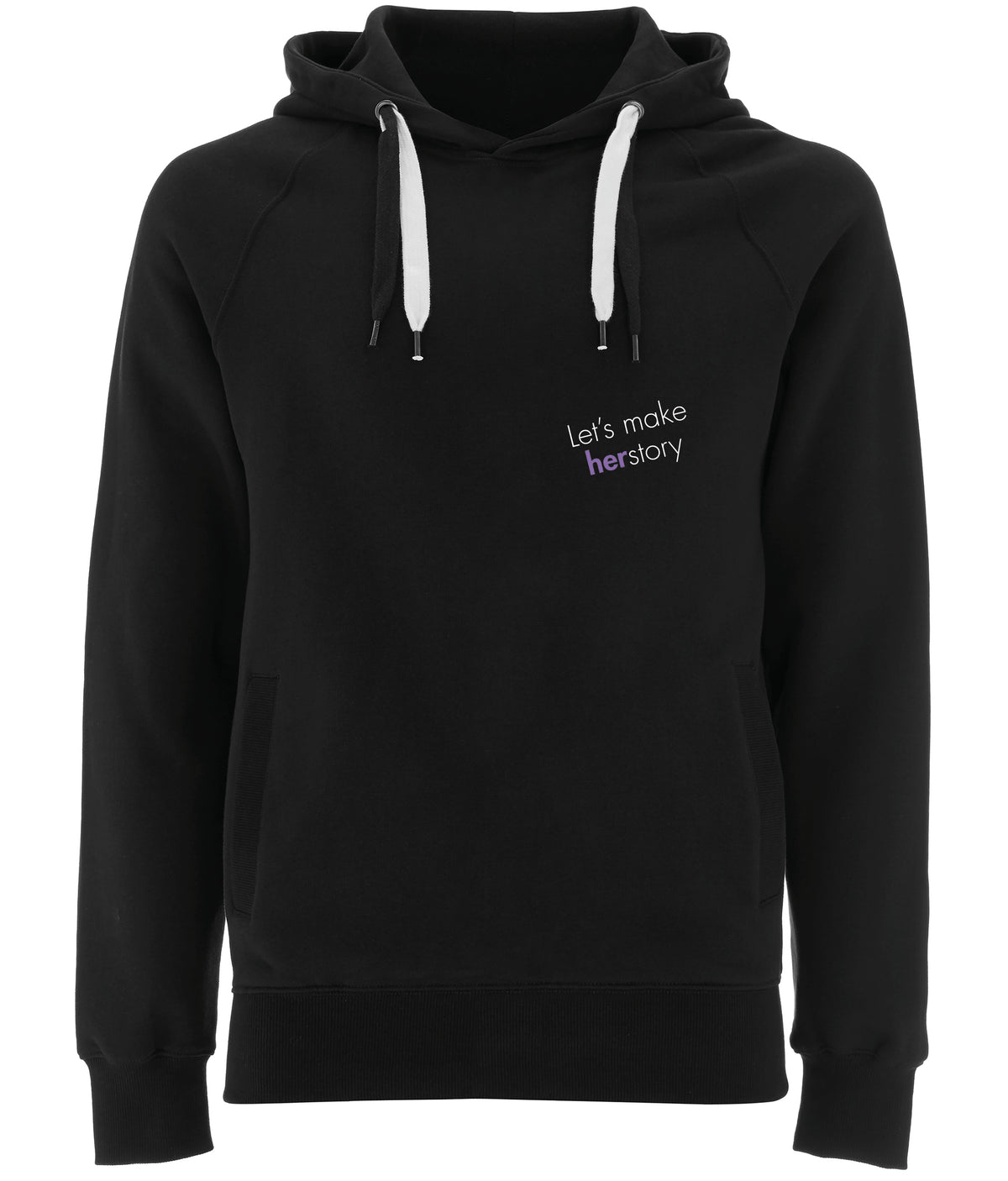 Let's Make Herstory Organic Combed Cotton Hoodie Black