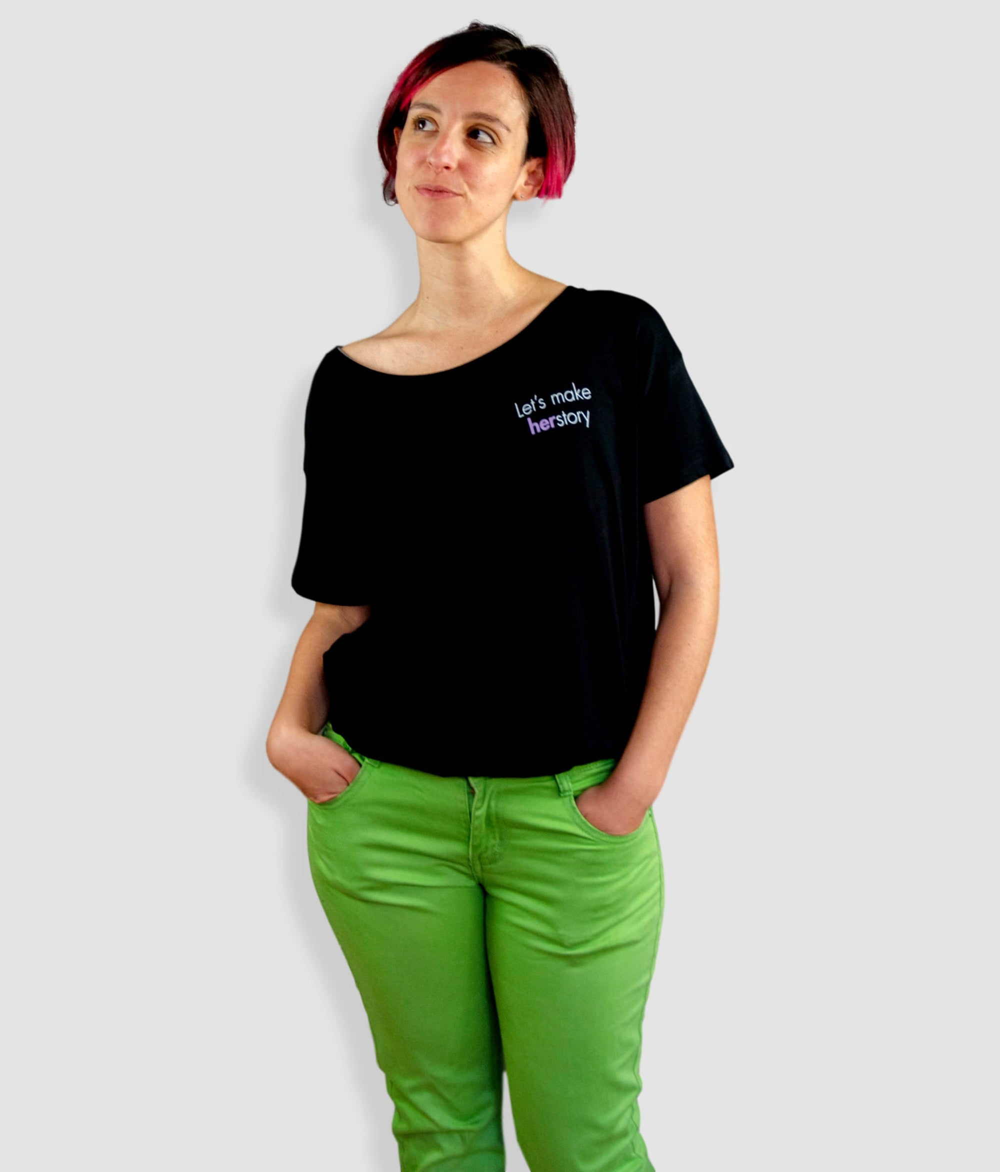 Open Neck Organic Feminist T Shirt - Let's Make Herstory, Tilted