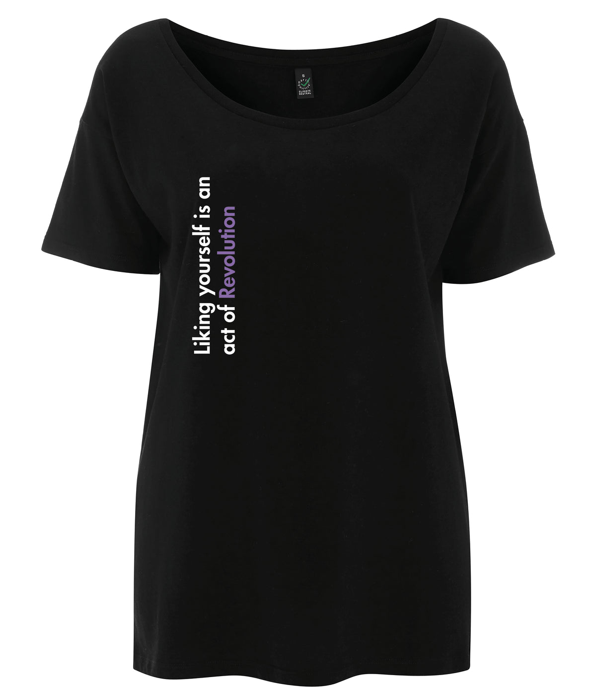 Liking Yourself Is An Act Of Revolution Tencel Blend Oversized Feminist T Shirt Black