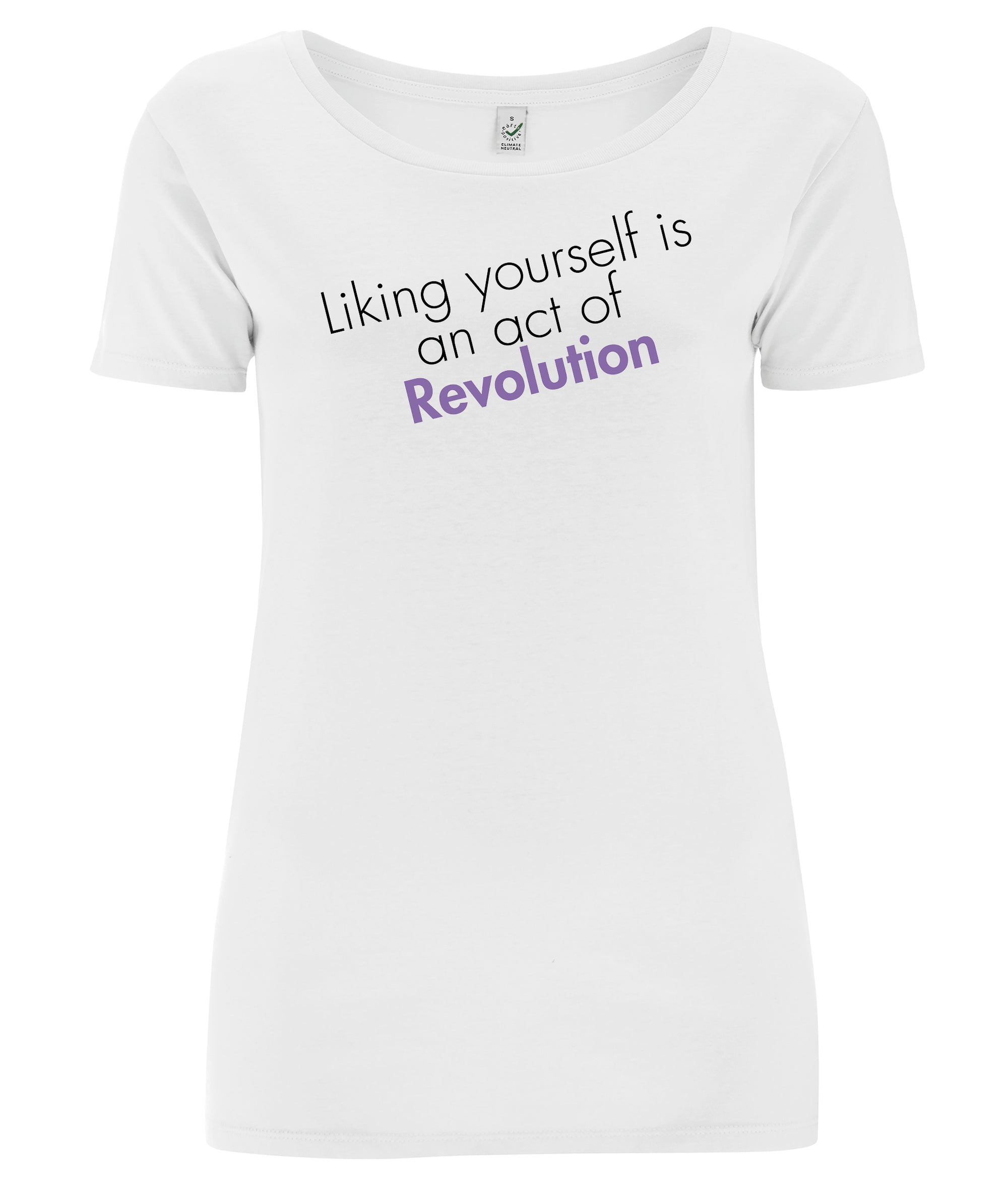 Liking Yourself Is An Act Of Revolution Open Neck Organic Feminist T Shirt Black