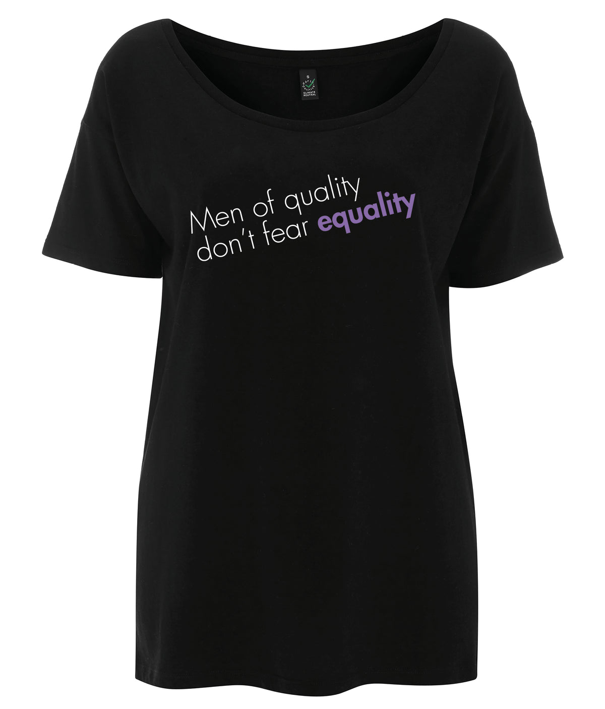 Men Of Quality Don't Fear Equality Tencel Blend Oversized Feminist T Shirt Black