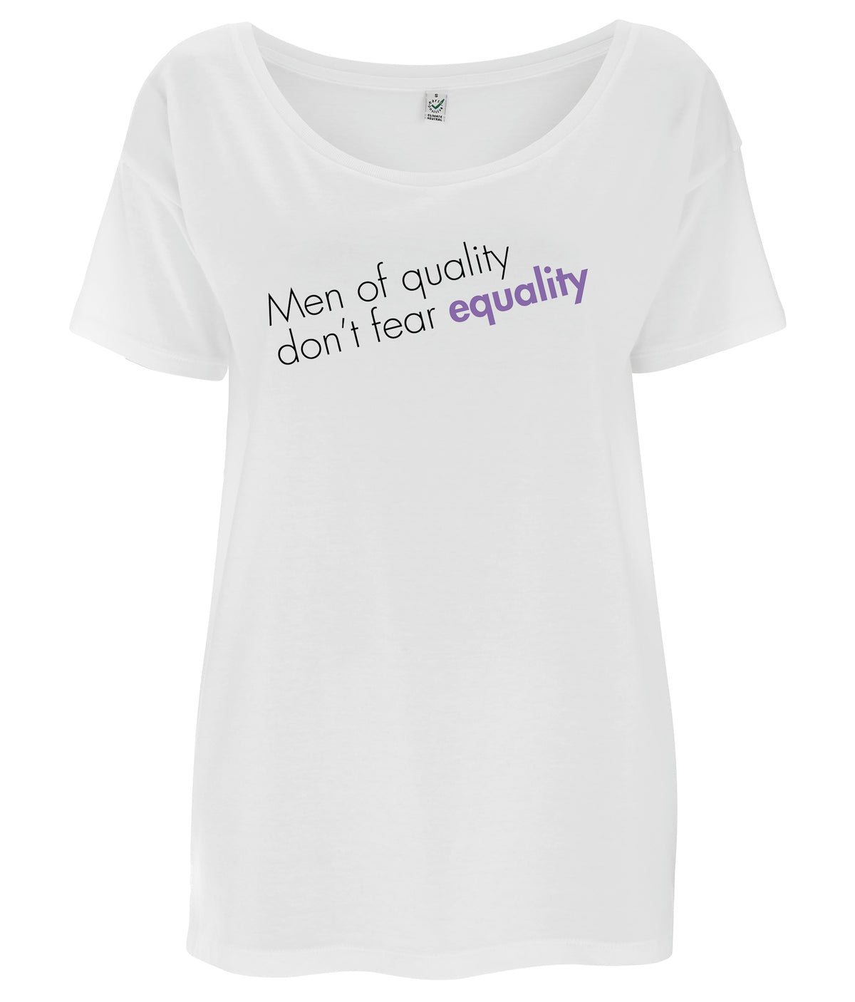 Men Of Quality Don't Fear Equality Tencel Blend Oversized Feminist T Shirt White