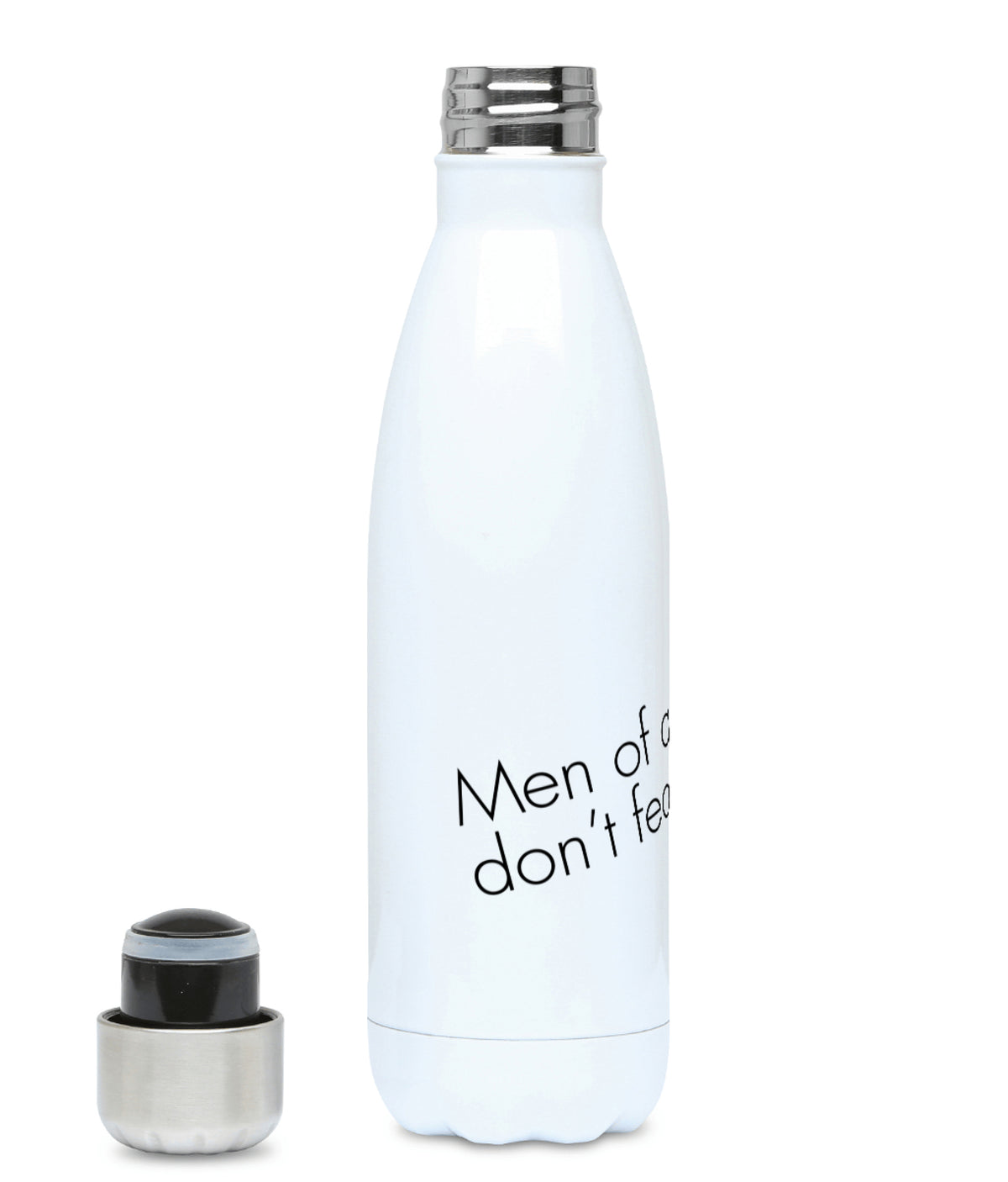 Feminist Water Bottle - Men Of Quality Don't Fear Equality - Left