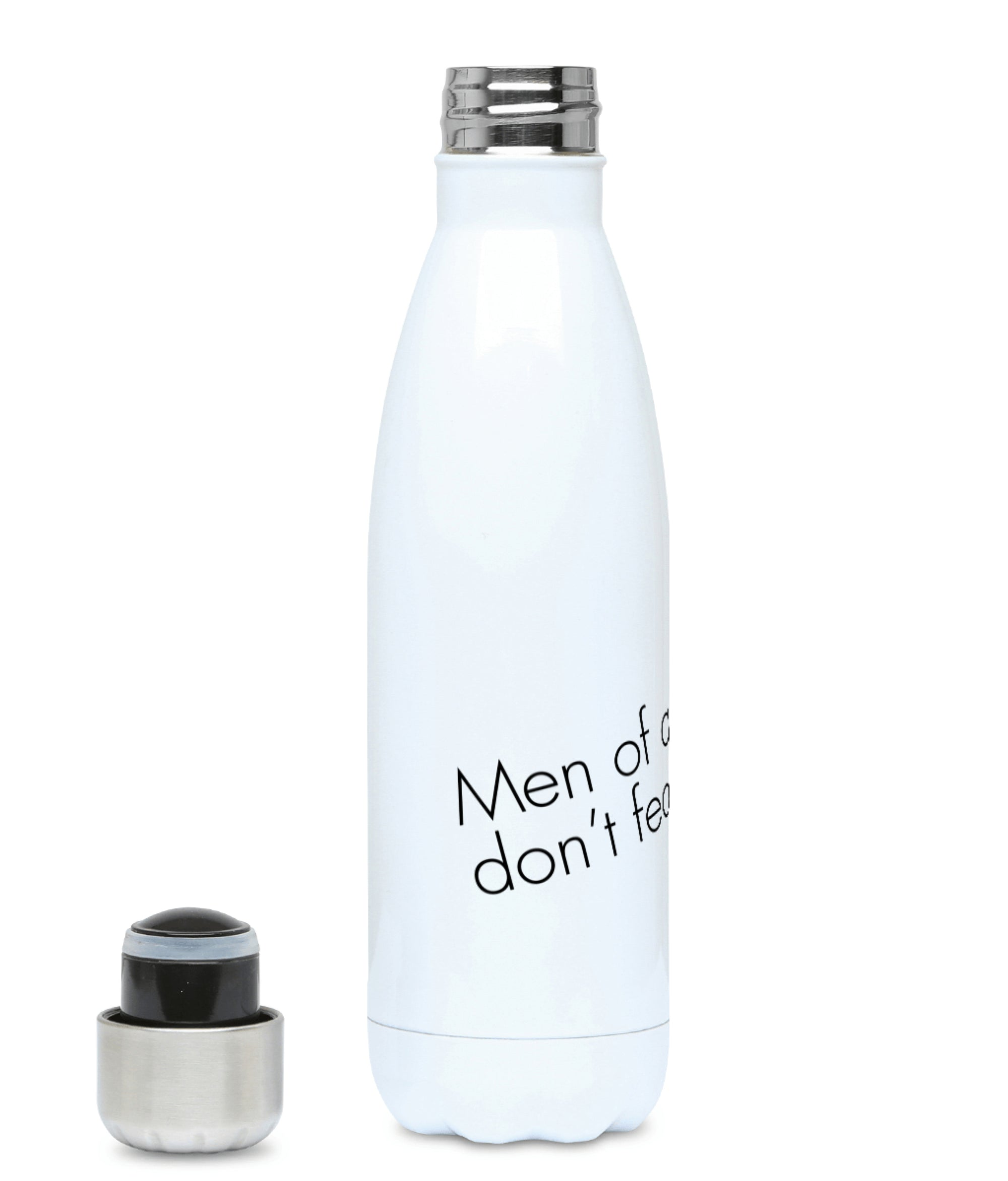 Feminist Water Bottle - Men Of Quality Don't Fear Equality - Front