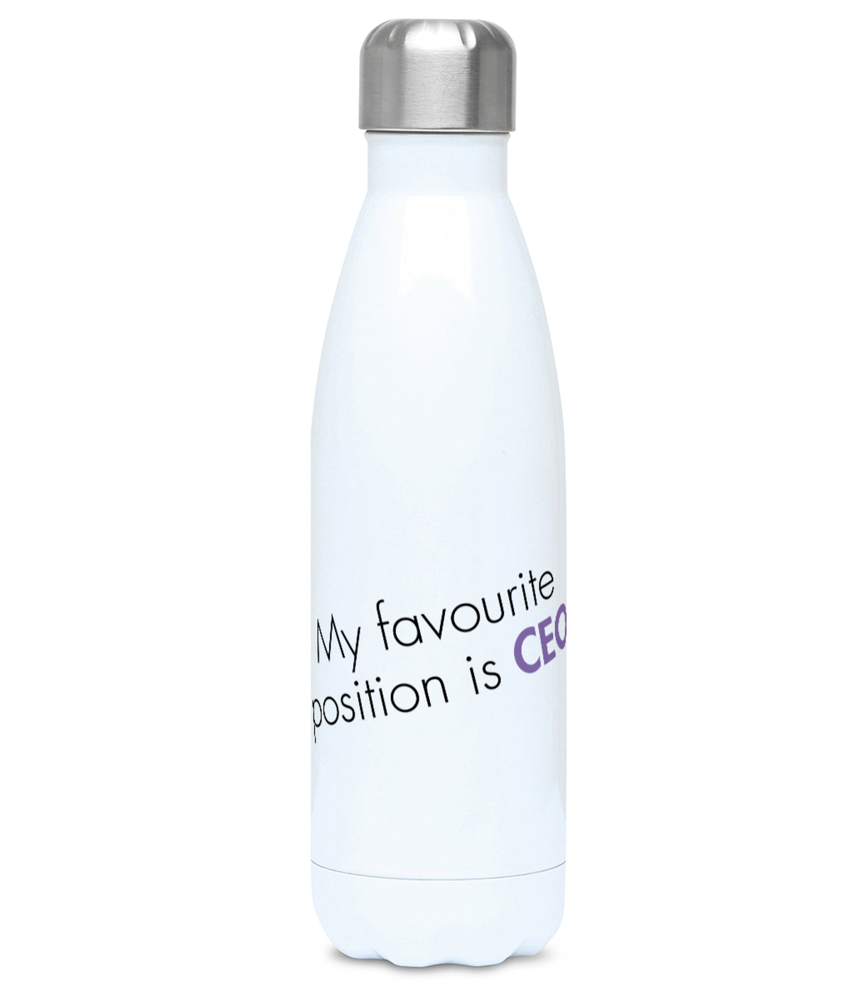 Feminist Water Bottle - My Favourite Position Is CEO - Front