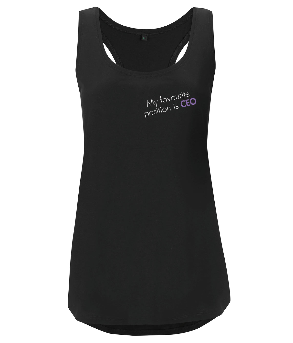 My Favourite Position Is CEO Organic Feminist Racerback Vest Black