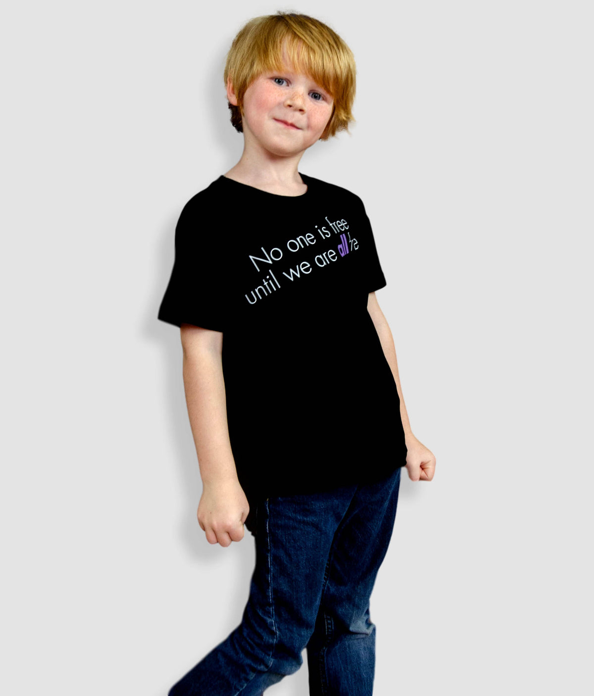 Kids Organic Feminist T Shirt - No One Is Free Until We Are All Free, Bold