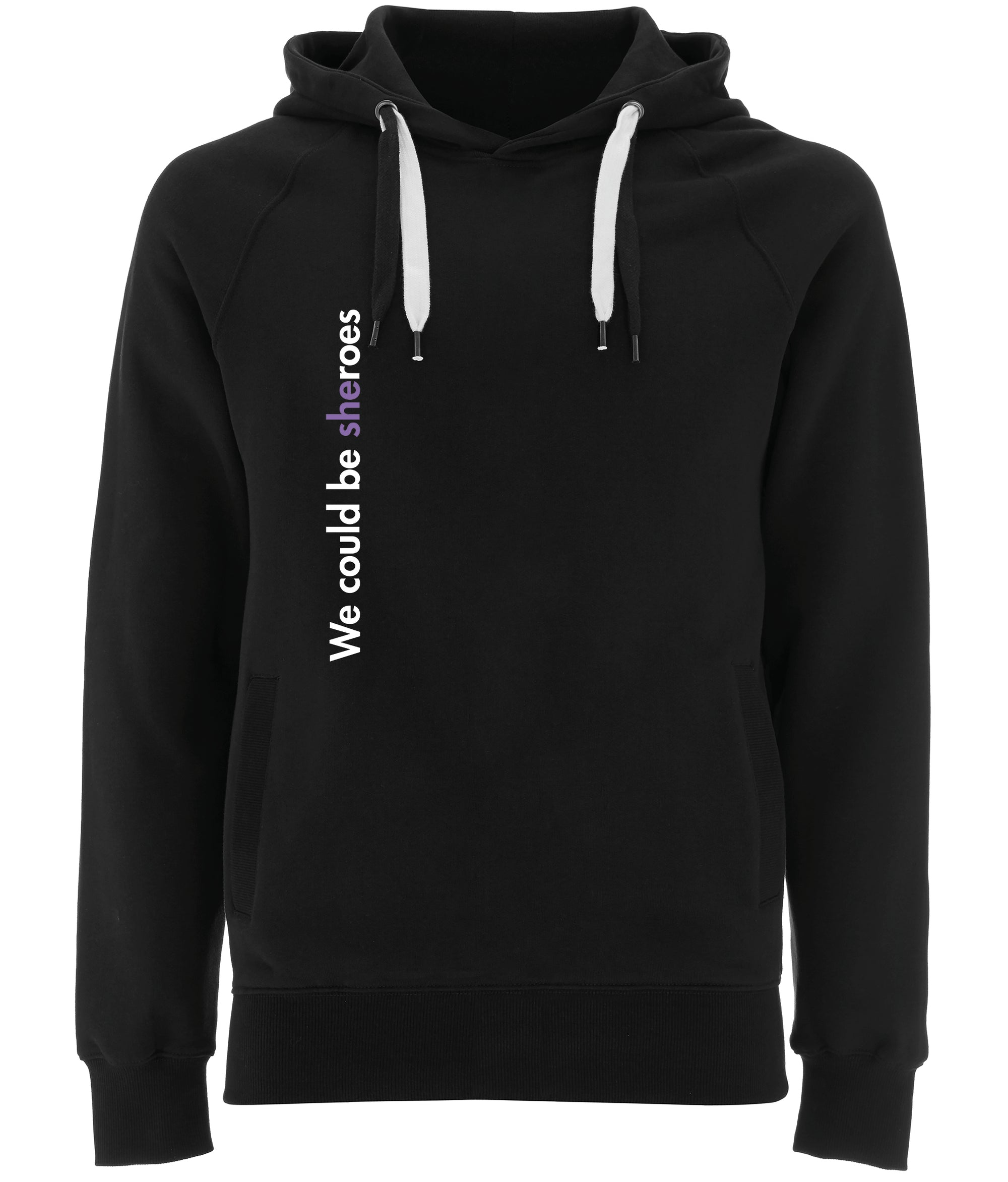 We Could Be Sheroes Organic Combed Cotton Hoodie Black