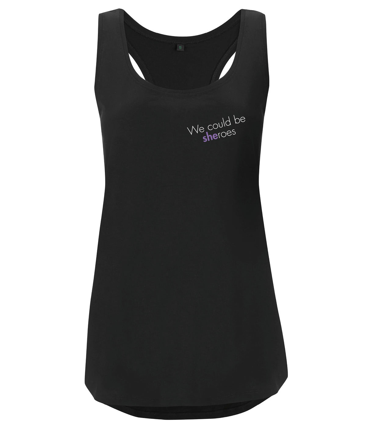 We Could Be Sheroes Organic Feminist Racerback Vest Black