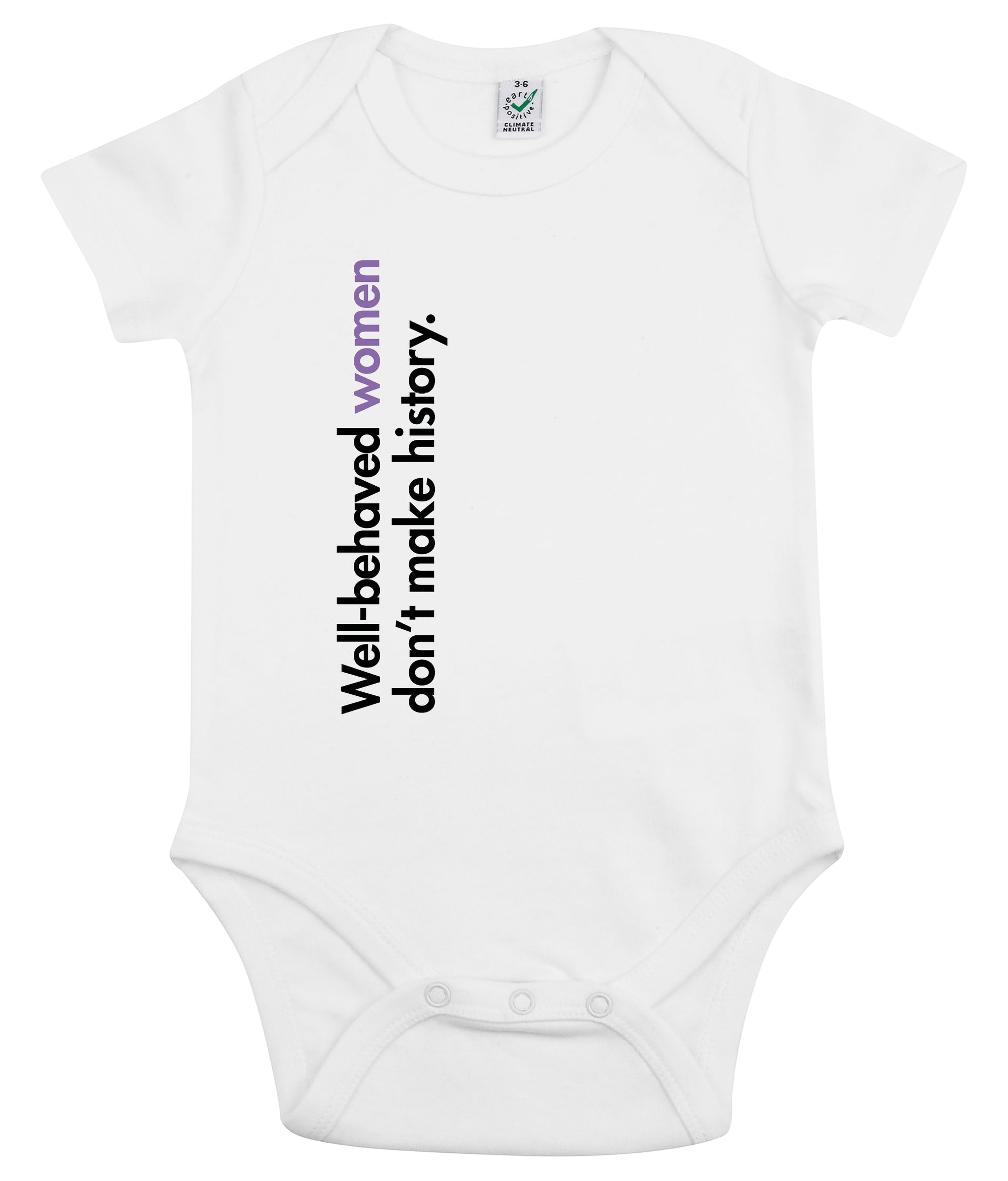 Well Behaved Women Don't Make History Organic Combed Cotton Babygrow White