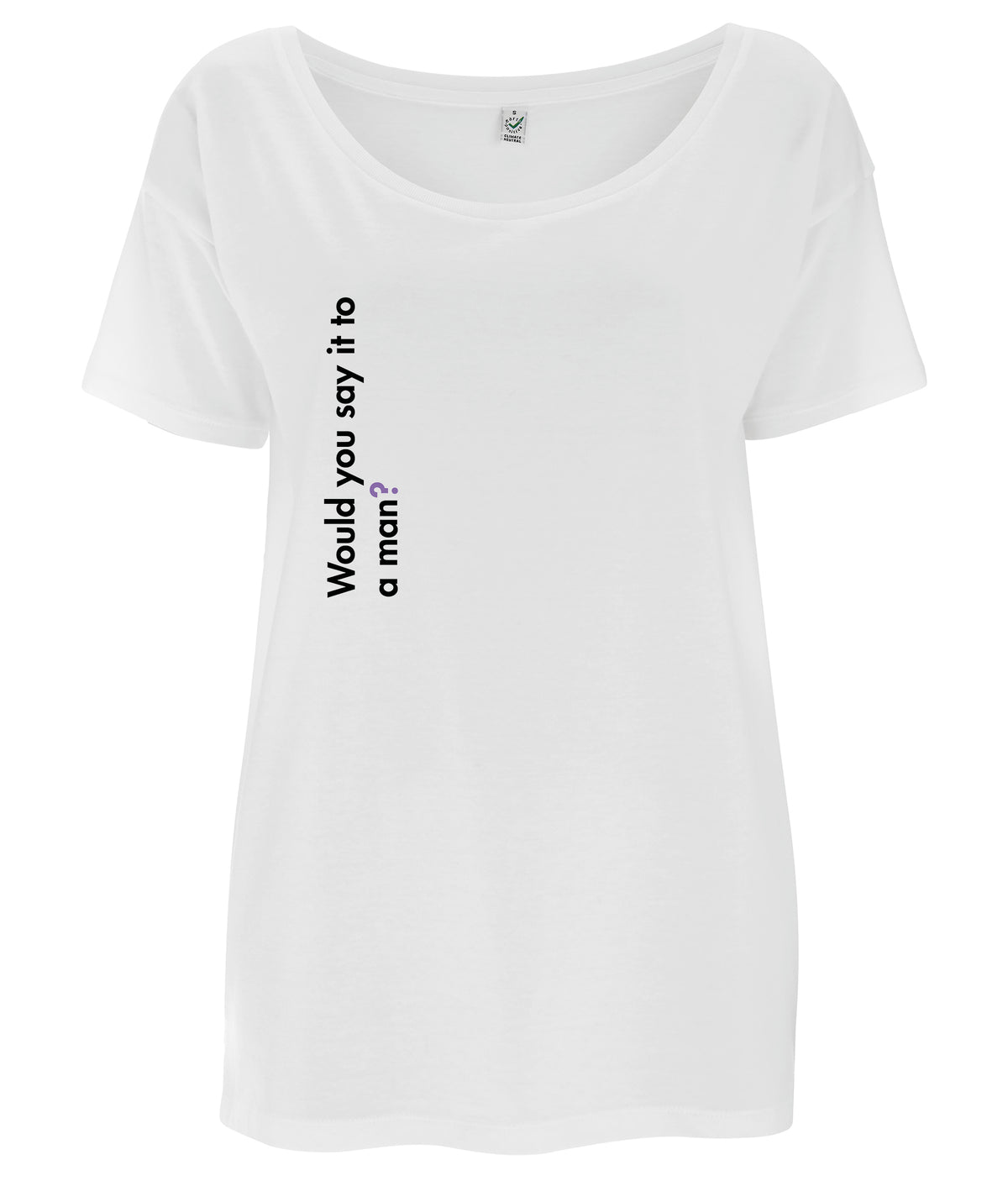 Would You Say It To A Man Tencel Blend Oversized Feminist T Shirt White